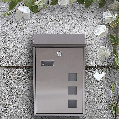 HKX Briefkästen Briefkasten für Außenbriefkästen Wandmontierter abschließbarer Briefkasten Briefkästen, Wetterfester Außenbriefkasten aus Edelstahl, Sicherer Briefkasten 25 * 39CM