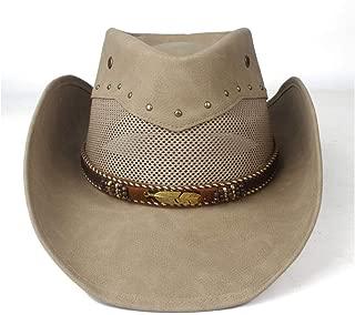 SXQ Summer Men's Women's Straw Hat 100% Leather Casual Denim Sunproof Western Cowboy Hat Fedora Hat Outdoor Travelling Beach Sun Hat With metal leaf Decoration Gentlemen's Hat UV Protective Visor Cowg