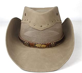 Hats  and Caps 100% Leather Western Cowboy Hat for Women Men with Roll Up Brim Punk Belt Jazz Sombrero Cap Cowgirl Fedora Dad Hat Size 58-59CM (Color : Khaki, Size : 58-59cm)