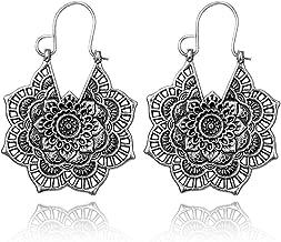 Vintage Mandala Flower Drop Dangle Earrings for Women Girl Tribal Hollow Floral Pendant Earring Clips
