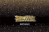 新しい星空の夜のパーティーの背景7x5ftお誕生日おめでとう写真の背景黒と金の誕生日スパークリングスターケーキテーブルの装飾女性の肖像画写真撮影小道具ビニール