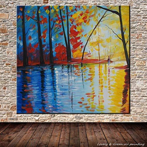 zhuziji DIY Malen nach Zahlen Handgemachte Moderne Wandkunst Spachtel Landschaft Home Decoration Wandbild36x36cm(Kein Rahmen)
