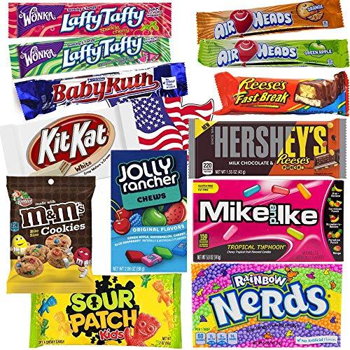 Süßigkeiten Box USA | Kennenlernbox mit 14 beliebten Süßigkeiten aus Amerika | Geschenkidee für Weihnachten und Geburtstage
