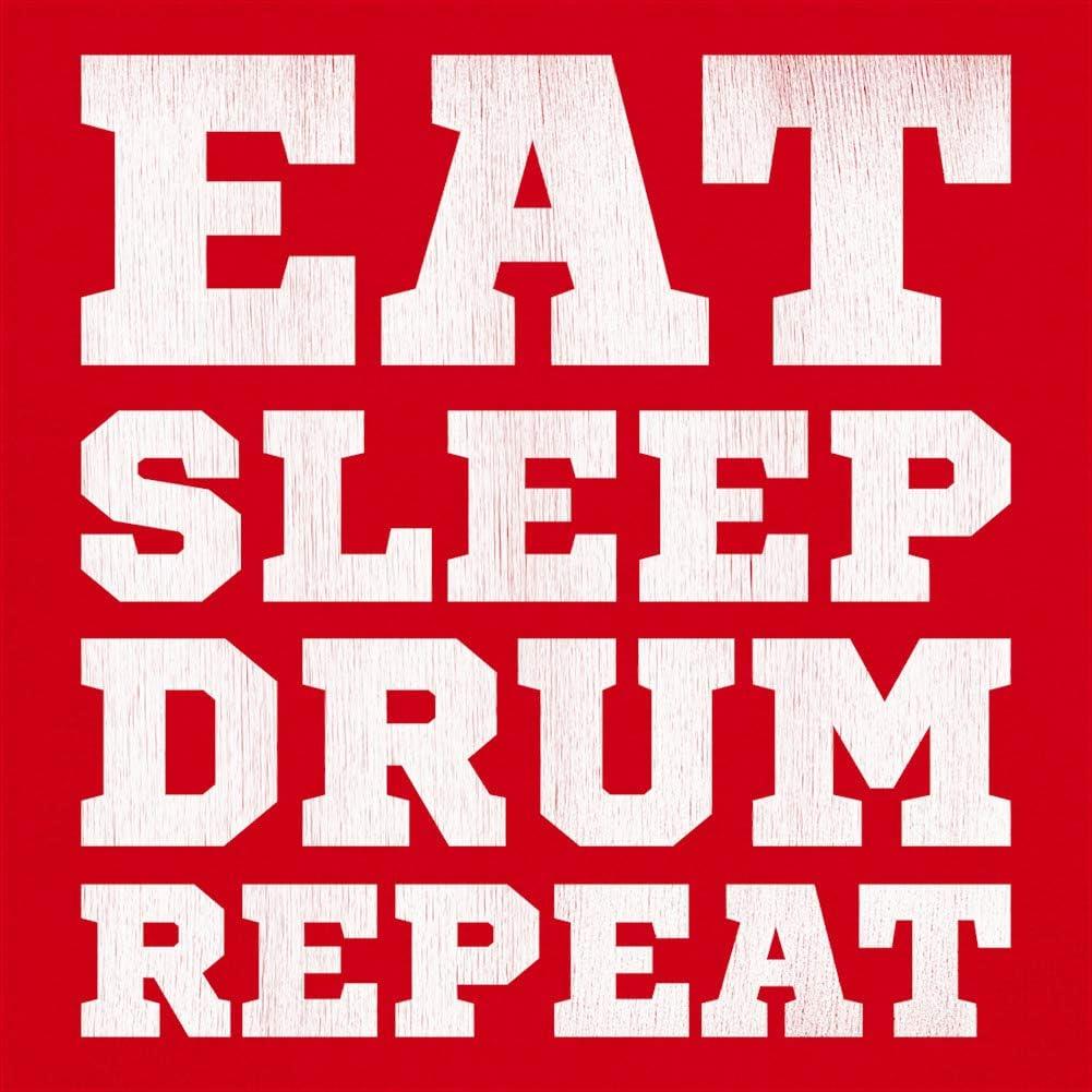 with Insert - 41 x 41cm One Size 16 Cushion//Pillow Dressdown Eat Sleep Drum Repeat - Black
