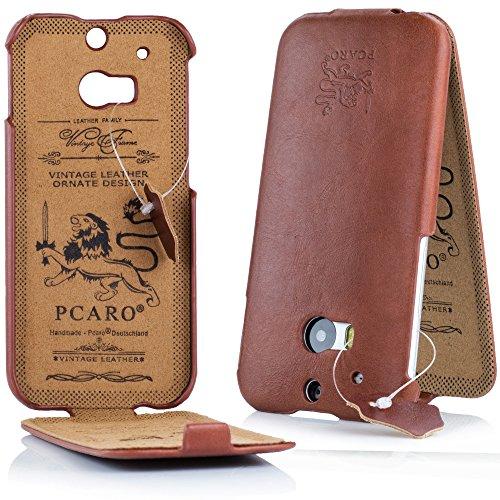 PCARO® Smooth Jazz Echtleder Hülle für HTC-One-M8 Handmade Rindsleder Leder Tasche in Cognac - Ledertasche inkl. Display Schutzfolie - ORIGINAL Cover
