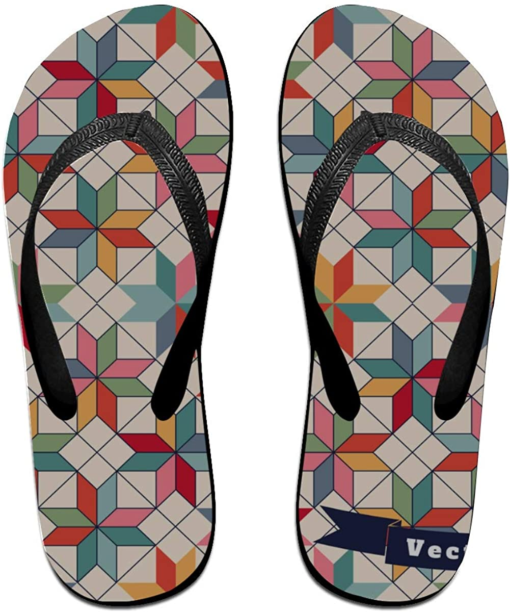 Teen Flip Flops Art 3D Retro Fashion Quilted Painting Male Flip Flops for Casual, Beach, Pool, Shower, Spa, Party
