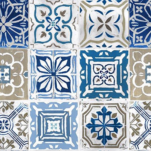ecosoul Wachstuchtischdecke Artistic Tiles Fliesenmuster Kachel blau grau weiß Meterware glatt abwaschbar Breite 140cm Länge wählbar (100cm)