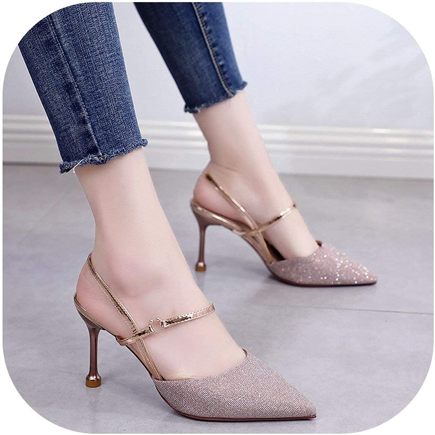 Flat Sandals Stiletto Sandals Female Sequins Cloth Pointed High Heels Women's shoes