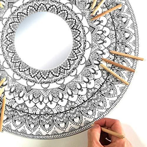 Espejo Mandala Gigante de Pared con Madera para Colorear Adultos y Niños de PAINT&RELAX | Espejo Redondo Ø48cms | Ideales para Decoración del Hogar | Regalo Original | Modelo Tierra.