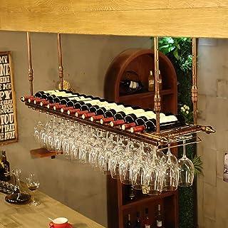 JFFFFWI Support de Verre à vin/Support à vin à l'envers sur la Barre décorative au Plafond, Restaurant de casier à vin en ...