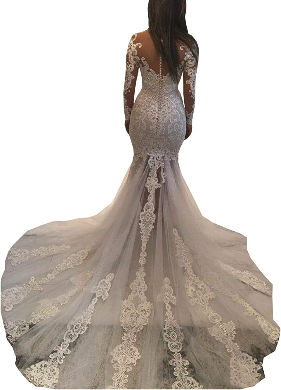 Mermaid Wedding Dresses for Bride 2021 Illusion Lace Beaded Long Sleeve Corset Bridal Gowns Train
