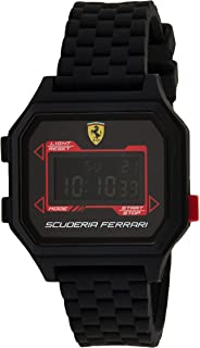 Ferrari Mens Digital Wrist Watch, Black Stainless Steel - 0830745