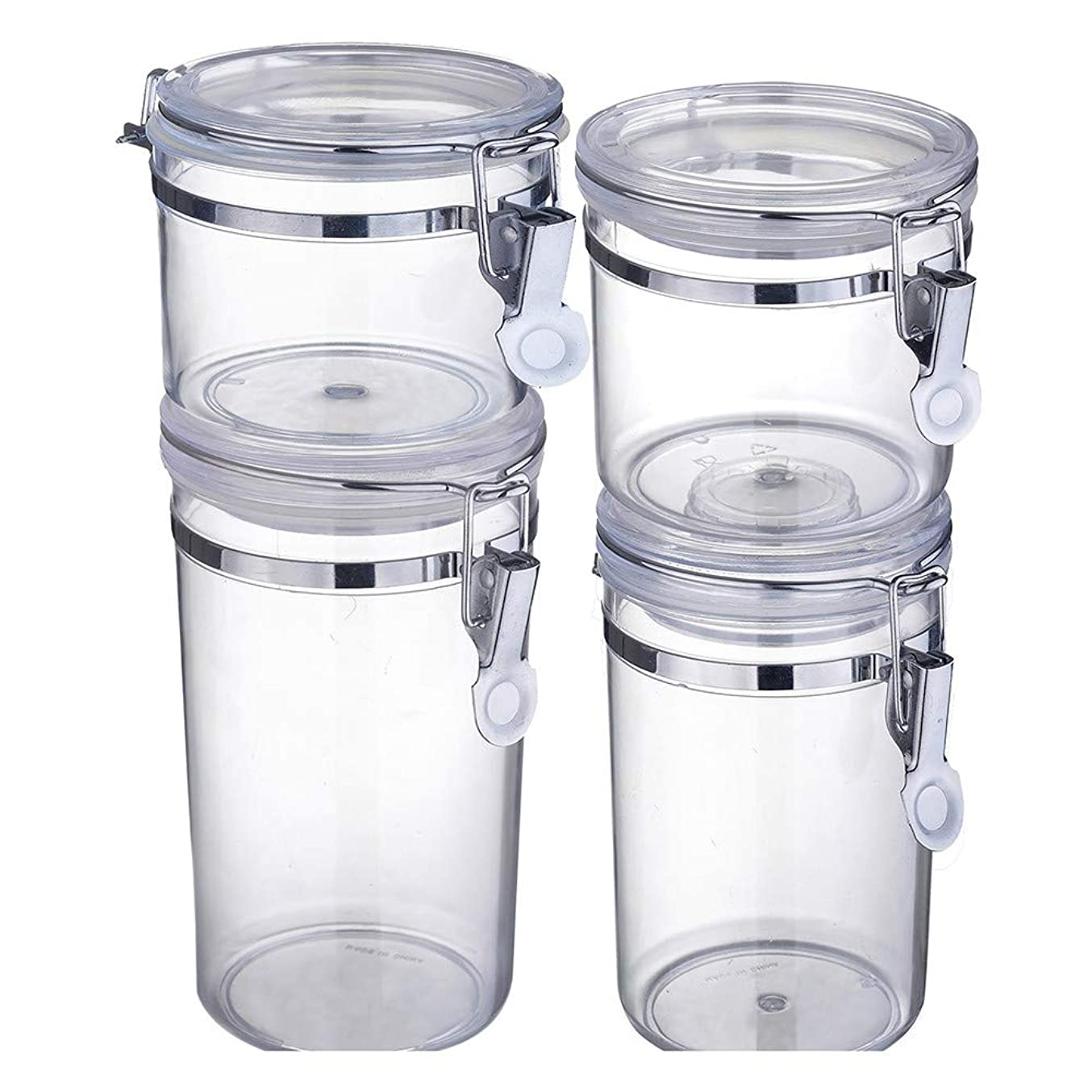差し引くである学習者4ピースストレージタンク透明プラスチック密閉タンクキッチン穀物湿気プルーフフレッシュ保持タンク400 ml 550 ml 750 ml 950 ml