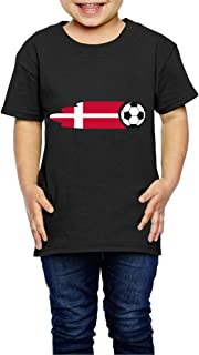 Kcloer24 Denmark Flag Soccer Ball Children Personality T-Shirt Short Sleeve Tee (2-6 Years Old)