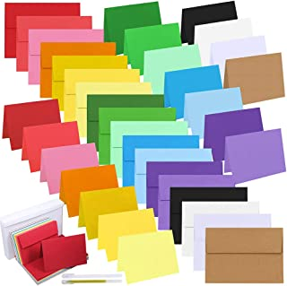 108 Sets 18 Colors A7 Invitations Envelopes 5x7 Envelopes Self Seal with Blank 5x7 Folded Note Cards Bulk DIY Card Making ...