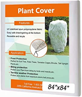 Agfabric Plant Cover Square Warm Worth Frost Blanket - 1.5 oz 84''Hx84''W Square Shrub Jacket, Rectangle Plant Cover with Zipper for Season Extension&Frost Protection