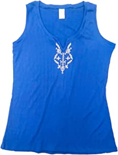Womens Royal Blue & White Tank Top Tee Shirt Floral Print T-Shirt Large