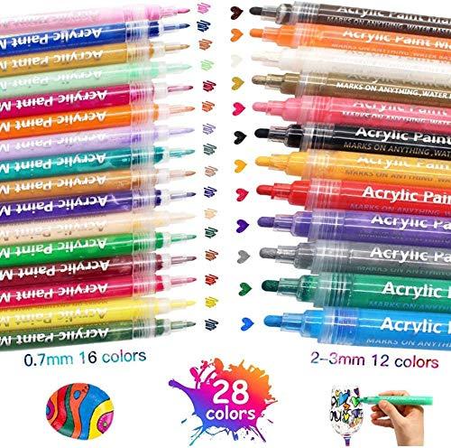 XIAPIA Acrylstifte für Steine Glas Porzellan und Holz Bemalen | 28 Farben Porzellanmalstifte DIY Set | Wasserfest Permanent Marker Graffiti Tasse Stifte für Kinder & Erwachser mit Tasche (Neue)