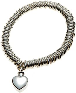 Urns UK Mayfair Jewellery Cremation Ashes Bracelet with Heart Charm, Sterling Silver