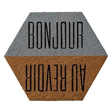 Bloomingville 27-1/2 L x 23-1/2 W Coir Doormat with  Bonjour/Au Revoir