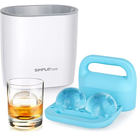 SIMPLETASTE Crystal Clear Ice Ball Maker, BPA-free Silicone Large Sphere Ice Mold, Ice Cube Tray for Whiskey, Cocktail and Drinks