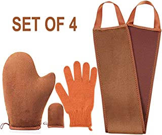 4 pack Self Tanning Mitt Applicator Kit , with Self Tan Mitt applicator, exfoliating gloves, Tanning back lotion applicator, mini Self Tanner Mitt, Self Tanner Mitt ,Tanning Mitt Applicator Kit