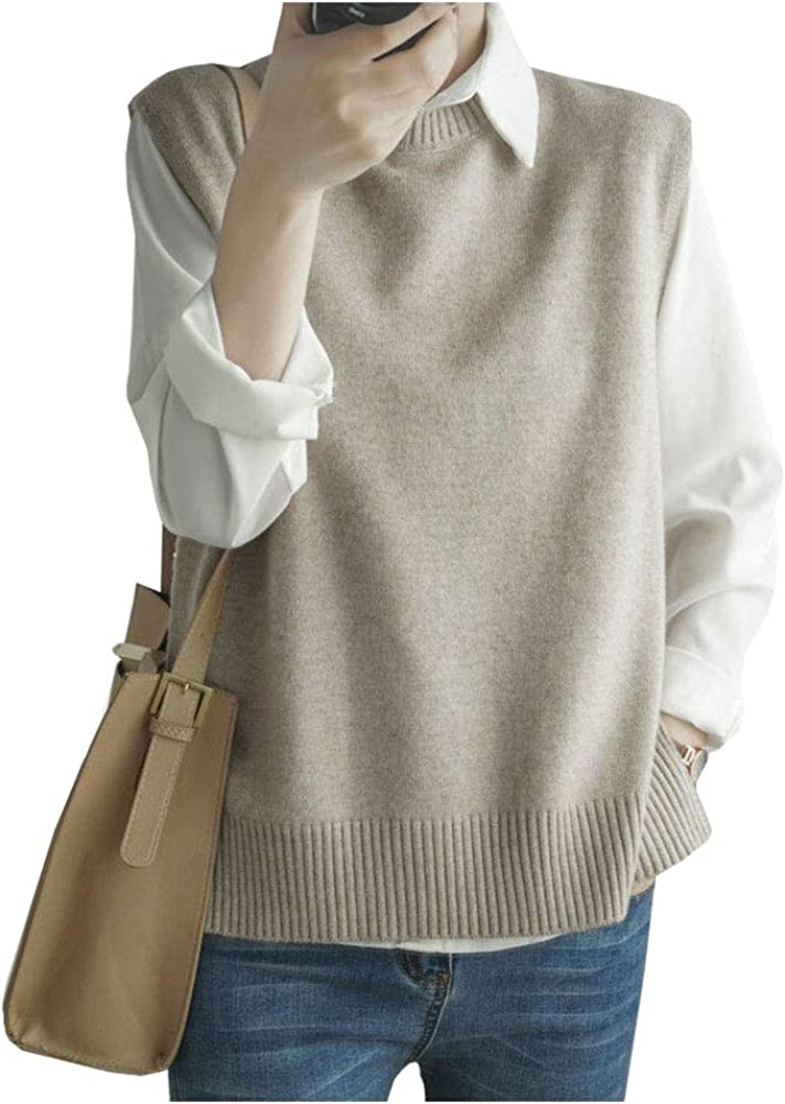 Ladyful Women Solid Classic V Neck Sweater Vest Sleeveless Knit Pullover Top
