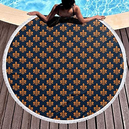 Toalla de playa redonda Micorfiber manta de playa Yoga Picnic Mat,Patrón floral victoriano de color naranja y adornos rizados era gótica, con borlas ultra suave decoración de habitación 59 pulgadas