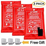 JJ CARE Fire Blanket Fire Suppression Blanket 40'x40' +3 Hooks, Fire Blanket Kitchen, Fire...