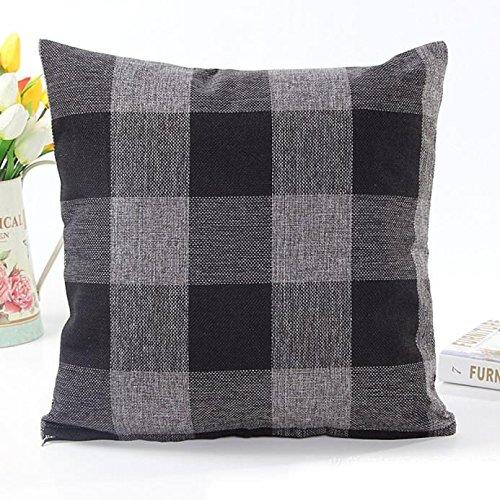 FUJOY Cushion Cover 45X45CM Multicolor Check Plaid Throw Pillow Cover Home Decorative for Men/Women/Boys/Girls Home Decoration Car Bedroom Living Room Sofa Chair Pillowcase