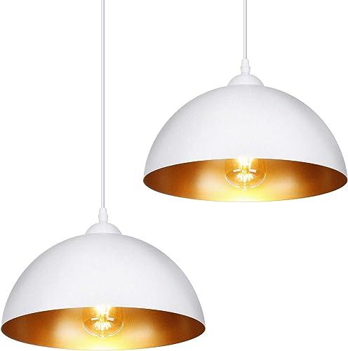 Albrillo Lot de 2 Suspensions Luminaire - Luminaire Lampe rétro, avec culot E27, Blanc Mat abat-jour et Ø 30 cm, max....