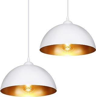 Albrillo Lot de 2 Suspensions Luminaire - Luminaire Lampe rétro, avec culot E27, Blanc Mat abat-jour et Ø 30 cm, max. 60W,...