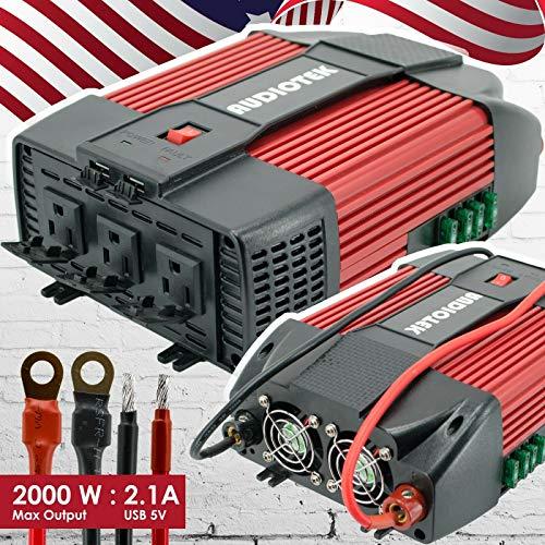 Audiotek 2000 W W Inversor de Potencia DC 12 V AC 110 V convertidor de Coche USB Puerto Cargador