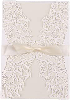 Driew Invitation with Envelope Ribbon Hemp Rope Pack of 20, for Wedding Party Birthday Bridal Shower Business Event Shimmer Chic Rustic Style#6