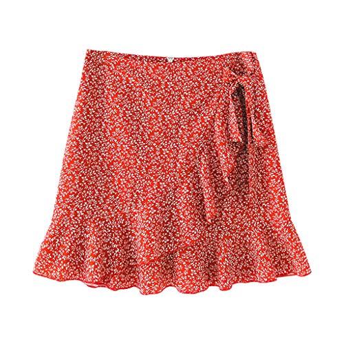 Damen Kurz RöCke, Mode Frauen Casual Print RüSchen A-Linie Plissee SchnüR Bandage Kurzrock Sommerkleid Mini Skirts Minirock