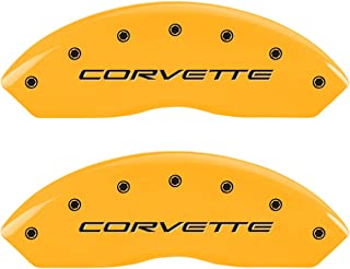 MGP Caliper Covers 13007SCV5YL Set of 4 caliper covers, Engraved Front and Rear: C5/Corvette, Yellow powder coat finish, black characters.
