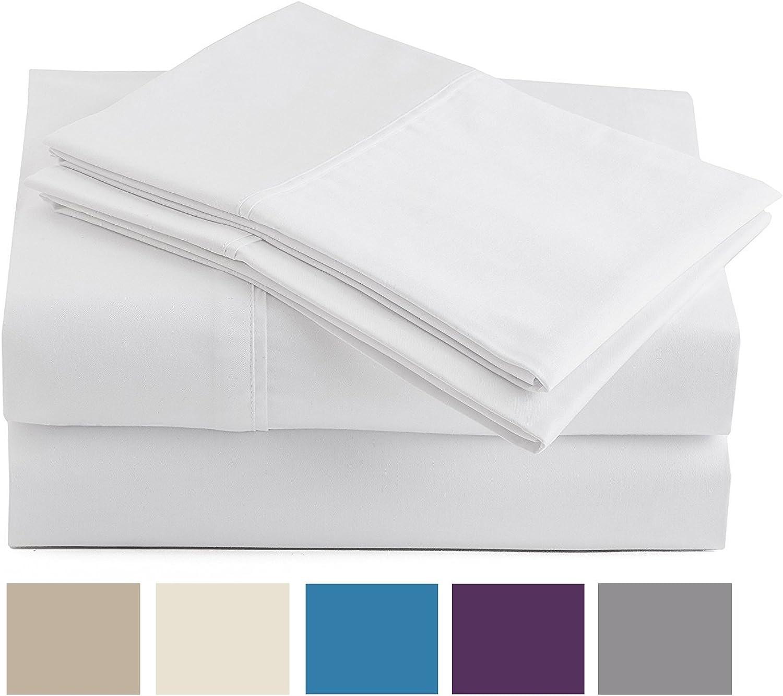 Peru Pima - 285 Thread Count - 100% Peruvian Pima Cotton - Percale - Bed Sheet Set (Full, White)