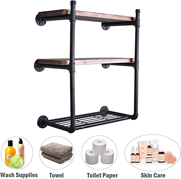 3 4 Industrial Pipe Wall Shelf Rustic Bathroom Bedroom Kitchen Shelving With Heavy Duty Storage Rack 24 Inch Wood 3 Tier
