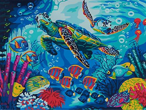 YXQSED [Madera enmarcada] Pintura al óleo de DIY por Números, Pintura por Número de Kits-Tortugas de mar 12x16 Inch