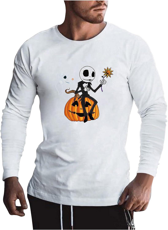 Long Sleeve Baltimore Mall Pumpkin Shirts for Halloween Max 41% OFF Skull Funny Men