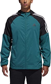 Mens Sport Id 3-Stripe Windbreaker Jacket(Noble Green/Black, Large)