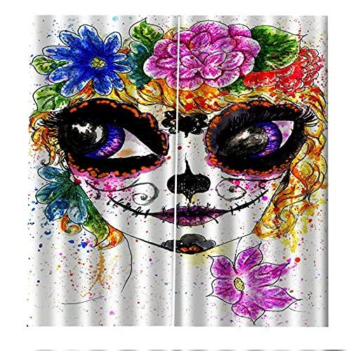 FACWAWF Cortinas Decorativas De Halloween De Impresión Digital 3D, Cortinas A Prueba De Sol Y Aislantes del Calor 2xW110xH215cm