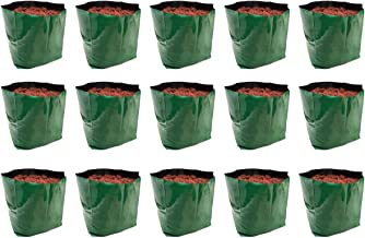 Rochfern Grow Bag Large, (Set of 15) 100% Virgin Polyethylene, (24 x 24 x 40 Cms.) Green Outer Side and Black Inside