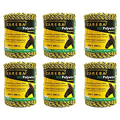 Zareba PW656Y9-Z Polywire 200-Meter 9-Conductor Portable Electric-Fence Rope