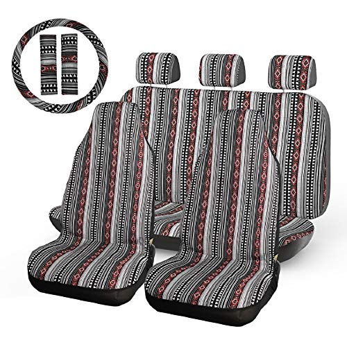 INFANZIA Baja Blanket Seat Cover Full Set Universal Bucket Seat Covers with Steering Wheel Cover &...