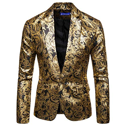 Mens Floral Blazer 1 Button Paisley Party Dinner Wedding Dress Suit Jacket Black