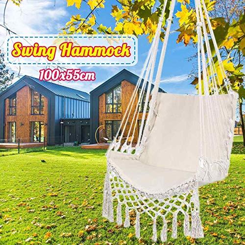 Nordic style hamac blanc suspendu Chaise d'extérieur jardin Chaise balançoire for les enfants adultes Chambre Lit hamac w/corde 100x55cm Hamac