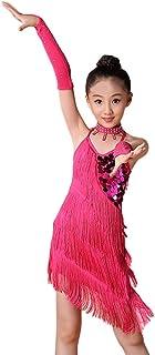 6148883b Ropa de Baile para Niñas Latino Vestido con Flecos de Fiesta Dancewear de Cosplay  Princesa,