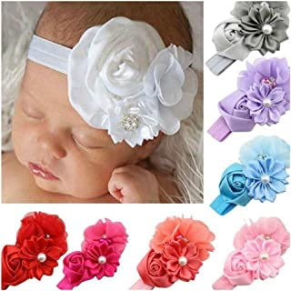 Ideal for Newborn Girl Gift Toddler and Children 3-Pack Bows Child Hairbands for 0-24 Months SETROVIC Baby Headbands Elastic Hair Accessories Soft /& Elastic