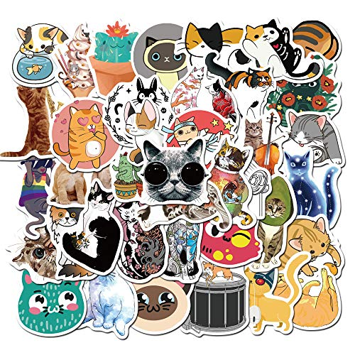 LYDP 50 pegatinas impermeables de dibujos animados de gato, para coche, maleta, maleta, grafiti